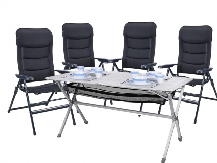 Outdoor Gartensitzgruppe 4 Campingstühle und Tisch stabiler Campingtisch faltbar