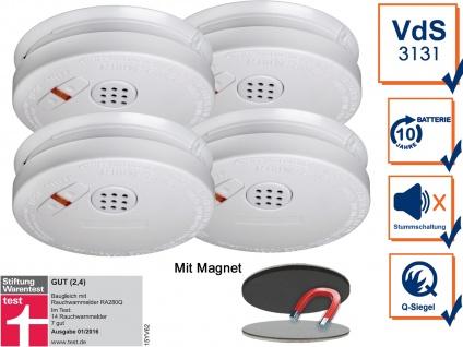 4er Set Rauchmelder 10 Jahre Batterie + Magnethalterung mit VdS & Q-Siegel