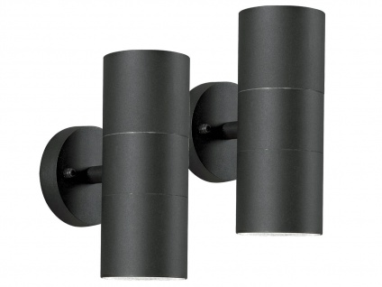 2er-Set Aluminium Up-Down Wandleuchte MODENA schwarz, GU10, H: 19, 5cm