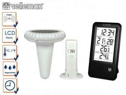 Pool Thermometer mit Uhrzeit, Innentemperatur, Außentemperatur und Hygrometer