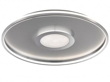 Große LED Deckenleuchte BUG rund Ø81cm mit Fernbedienung - Silber matt & Chrom - Vorschau 2