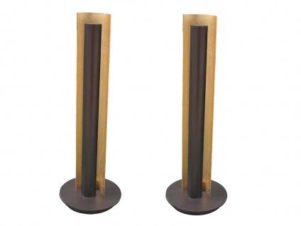 Design LED Nachttischleuchte 2 Stück H. 47, 5cm Antik Braun/Messing gefärbt -Flur