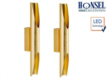 2 Stk. Blattgoldene LED Wandleuchte Höhe 48cm Up- / Downlight, Wohnzimmerleuchte