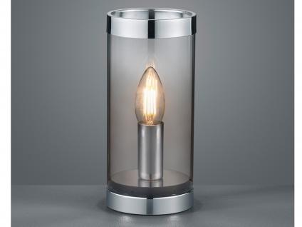 Kleine ausgefallene Tischleuchte Zylinder Tischlampe Nachttischlampe Rauchglas