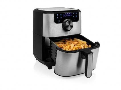Edelstahl XXL Heißluftfritteuse Umluft Friteuse Pommes ohne Öl 4, 5L 1500Watt