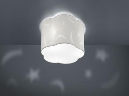 Runde Deckenleuchte groß Ø25cm, weißer Stoffschirm mit Mond+Sternen Motiv, E27