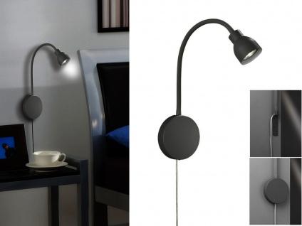 Leselampe Bettleuchte grau mit Schalter für Kopfteil Bett Couch und Wandmontage