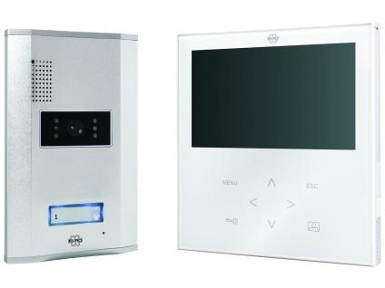 Video-Türsprechanlage weiß, flacher 7 Zoll Farb-Touchscreen, Nachtsicht 1m