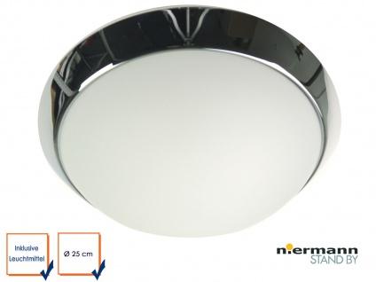 LED Deckenleuchte rund, Opalglas matt, Dekorring Chrom, Ø 25cm Büroleuchte