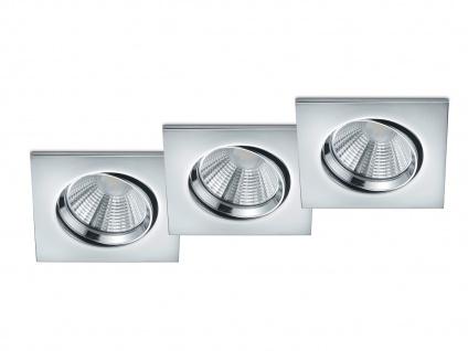 3 LED Einbaustrahler Decke eckig Spot schwenkbar dimmbar Chrom glänzend 5, 5W