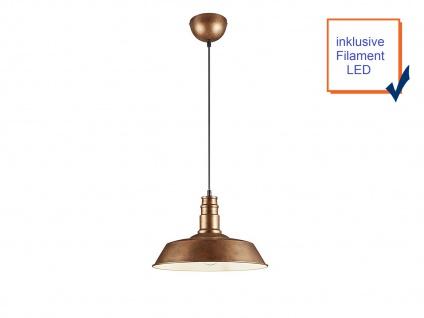 Retro LED Pendelleuchte Ø31cm in Kupfer antik Hängelampe für Esszimmer Flurlampe - Vorschau 3