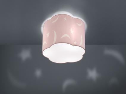 Runde Deckenleuchte groß Ø25cm Stoffschirm pastellrosa mit Motiv Mond+Sternen