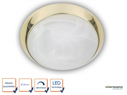 LED Keller Leuchte Treppenhaus Beleuchtung ALABASTER Ø 35cm LED Garagenlampe
