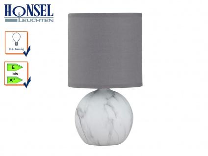 Tischleuchte Keramik grau/weiß Stoffschirm grau H. 26cm Nachttischlampe Diele