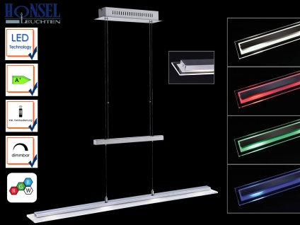 LED Balken Pendelleuchte dimmbar höhenverstellbar mit Fernbedienung Farbwechsel