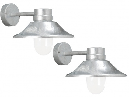 2er-Set LED Außenwandleuchten VEGA galv. Stahl, dimmbar, 700 Lm