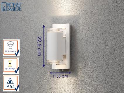 Außenwandleuchte Alu weiß 2x GU10-Sockel UP & DOWN Wegeleuchten Gartenlampen