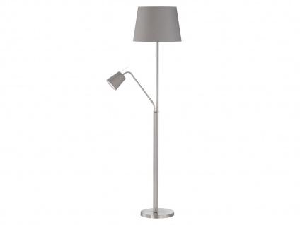 Klassische Stehleuchte mit flexibler Leselampe & LEDs, Lampenschirm Stoff grau