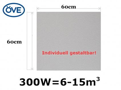 300W Infrarotheizung, 60x60 cm, für Räume 6-15m³, bemalbar, IP44