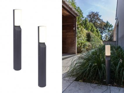 Moderne LED Terrasenleuchten Zylinder ALU Design Gartenlampen stehend, Anthrazit