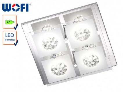 4-flammige LED-Deckenleuchte, Chrom / Glas weiß, Wofi-Leuchten