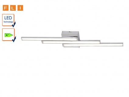 LED Deckenleuchte 70cm, geradliniges Design, Chrom / Acryl, FLI-Leuchten