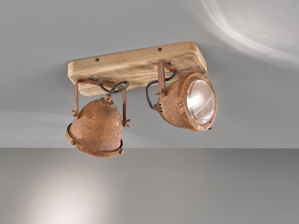 2 flammiger Deckenstrahler Holzbrett & Metall rostfarben, Deckenlampe Industrial