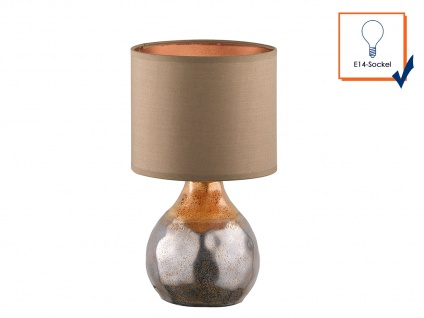 Dekorative Honsel Keramik Tischleuchte 31cm Braun mit Design Lampenschirm Textil - Vorschau 4