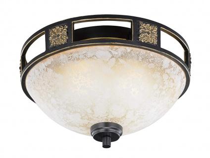 Rustikale runde LED Deckenlampe mit Glasschirm Ø 33cm - fürs WohnzimmerLampen