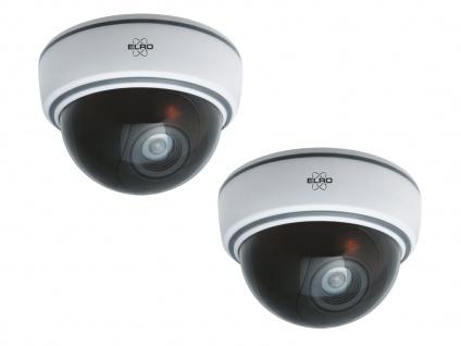 2er Set Dome Kamera Attrappe weiß LED Blitzlicht - Fake Dummy Überwachungskamera - Vorschau 2