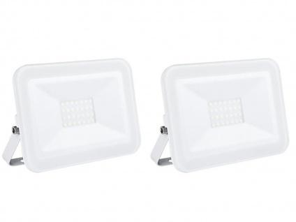 2er Set 20W LED Außenwandstrahler weiß mit Befestigungsbügel, flaches Design