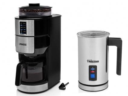 Set: Kaffeemaschine 6 Tassen mit Bohnen Mahlwerk & elektrischer Milchaufschäumer