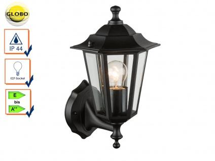 Globo Wandleuchte / Außenleuchte Laterne in Schwarz, Fassadenbeleuchtung E27