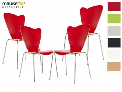4er Design Stuhl HEART rot Stapelstuhl Esszimmerstuhl Bistrostuhl Schalenstuhl