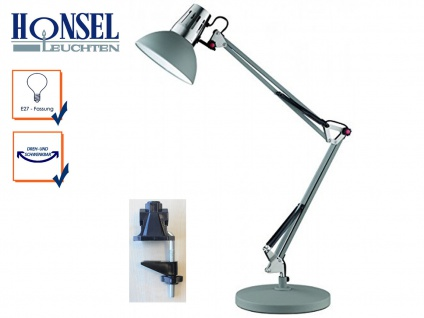Honsel Schreibtischlampe Klemmleuchte PIT grau, Leselampe Bürolampe Schreibtisch