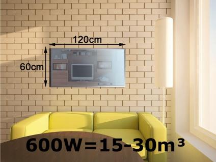 600W Infrarotheizung, Glaspaneel in Spiegeloptik, Räume 15-30m³