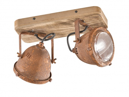 2flammiger dimmbarer LED Deckenstrahler Industrial Style aus Holz & Metall rost