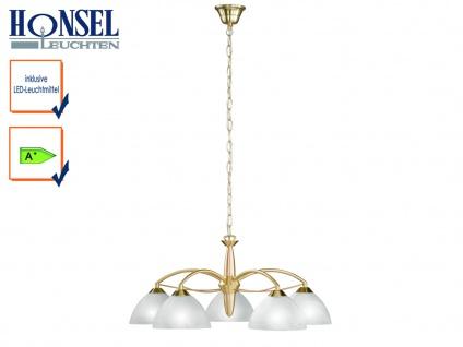 5-fl. LED Pendelleuchte Messing / Schirme Glas Ø 64cm Kronleuchter Wohnzimmer