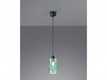 LED Pendelleuchte 1 flammig aus Metall mit Rauchglas in Türkis für Esszimmer