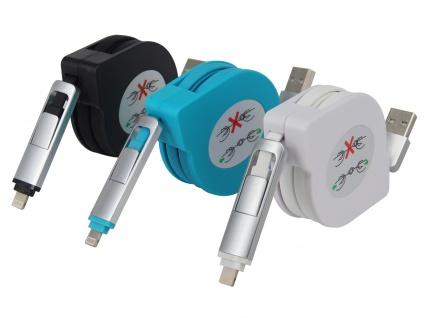 3er-Set Ausziehbare Micro USB Flach Ladekabel - Datenkabel alle Marken + Iphone
