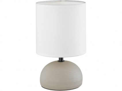 LED Keramik Tischleuchte in Cappucino mit rundem Stofflampenschirm Ø14cm Weiß
