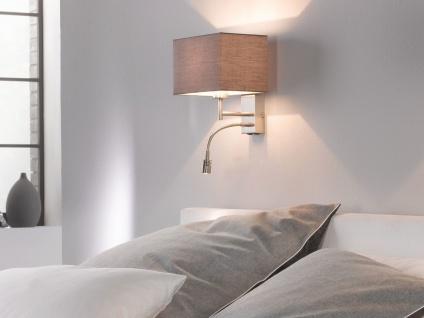 LED Wand-leuchte mit Leselampe Stoff Braun für Bett Nachttischlampe Wandmontage