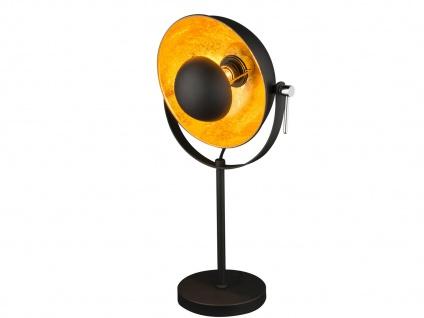 Globo Retro Tischlampe schwarz gold mit LED, Reflektor schwenkbar, Tischleuchte