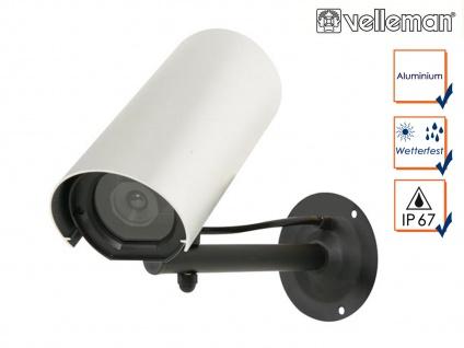Kamera Attrappe mit blinkender LED, Fake Dummy Innen Außen Überwachungskamera