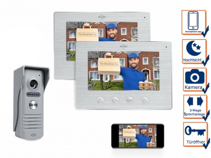 1 Familienhaus IP Türsprechanlage mit Kamera und 2 Monitoren - Video Türklingel