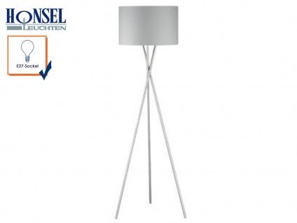 Moderne Design Stehlampe mit Lampenschirm 54cm Stoff grau Stehleuchte Standlampe