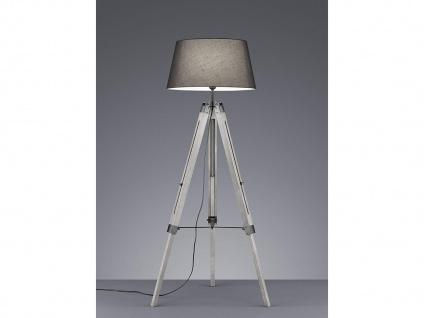 Höhenverstellbare LED Stehleuchte Holz mit Stoffschirm Ø45cm in Grau Höhe 143cm