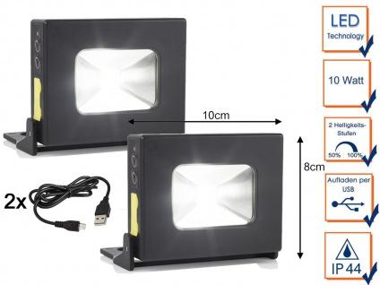 2Stk. LED Akku Arbeitsleuchten mit Magnet - IP44 Handlampen Fluter als Powerbank