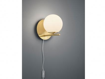 Design Wandlampe Messing mit Lampenschirm Glaskugel weiß und Kabel & Stecker