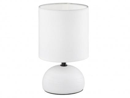 Kleine LED Tischleuchte mit rundem Stofflampenschirm & Keramik in Weiß Ø14cm